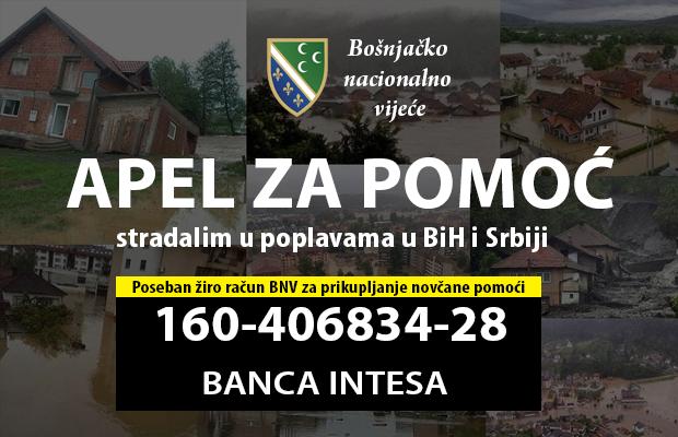 Apel BNV za pomoc stradalim u poplavama